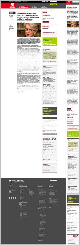 Page article du site de Force ouvrière, desktop et smartphone