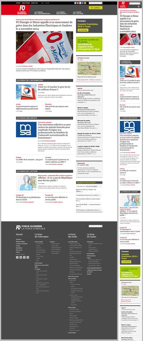 Homepage du site de Force ouvrière, desktop et smartphone