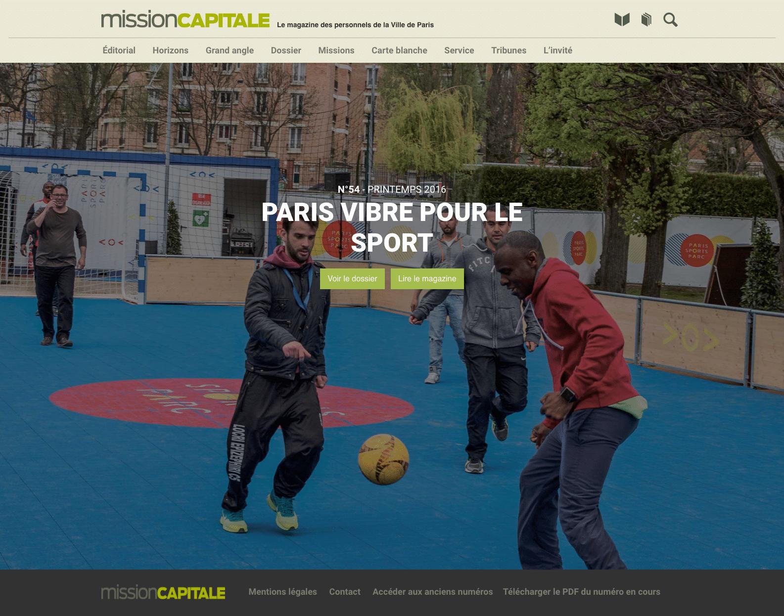 Page d'accueil de Mission Capitale